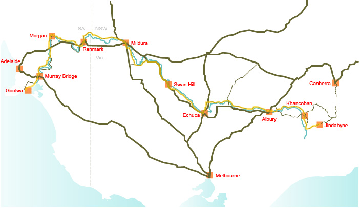 Murray River trail touring map