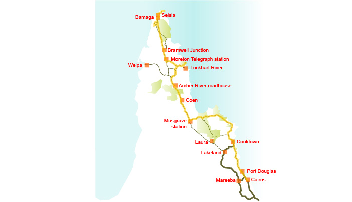 Cape York bike trail touring map
