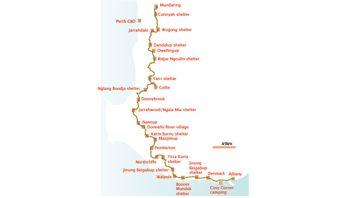 Munda Biddi Trail map