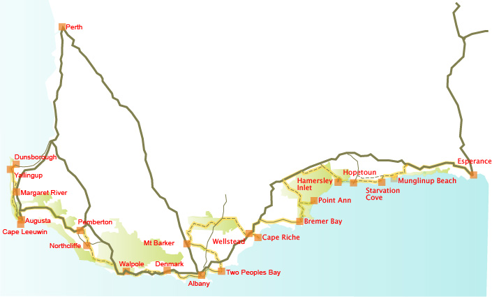 Cycle Trails Australia South Coast WA - Map of western australian towns