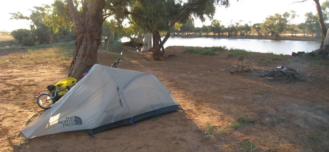 bush camping at Eringa waterhole, Finke Rd, South Australia